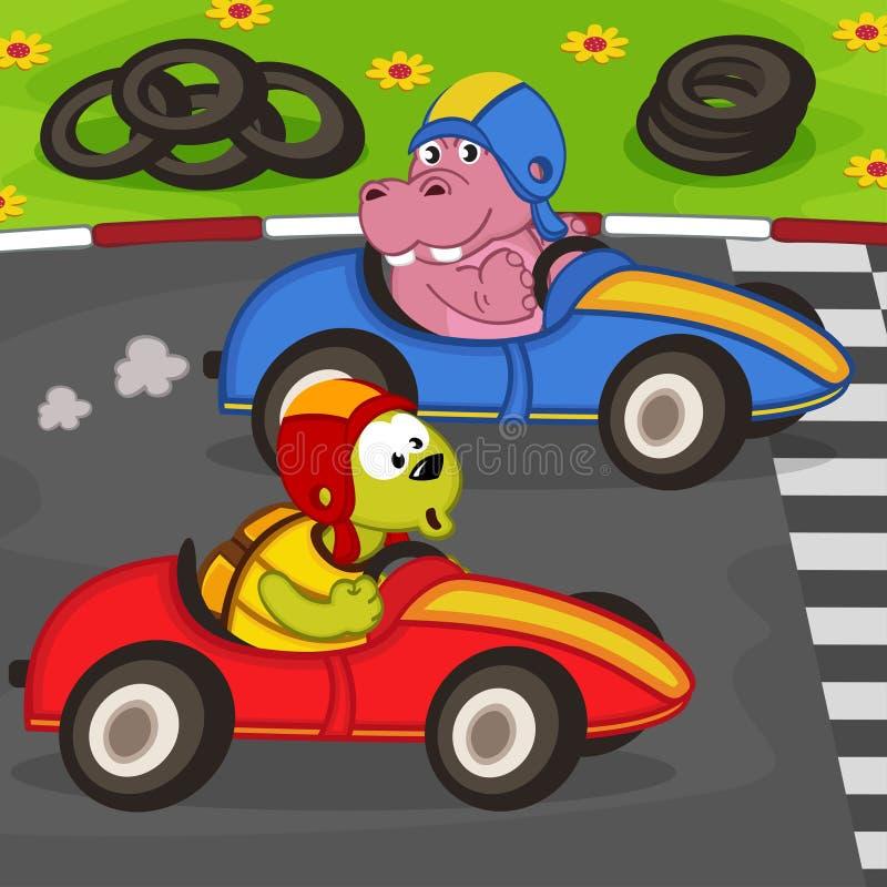 Ζώα σε έναν αγώνα αυτοκινήτων ελεύθερη απεικόνιση δικαιώματος