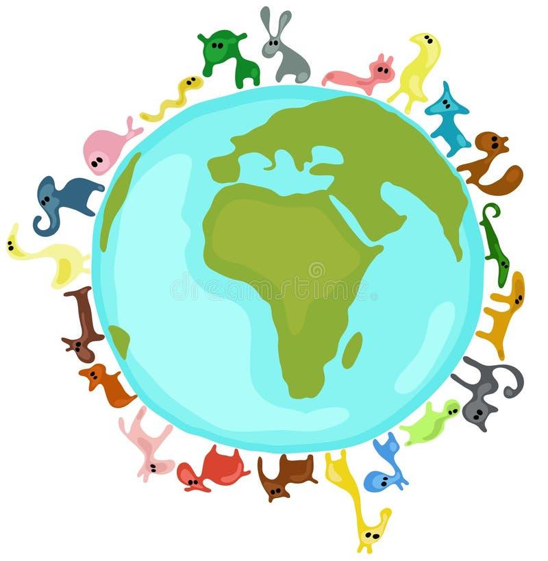 ζώα σε όλο τον κόσμο διανυσματική απεικόνιση