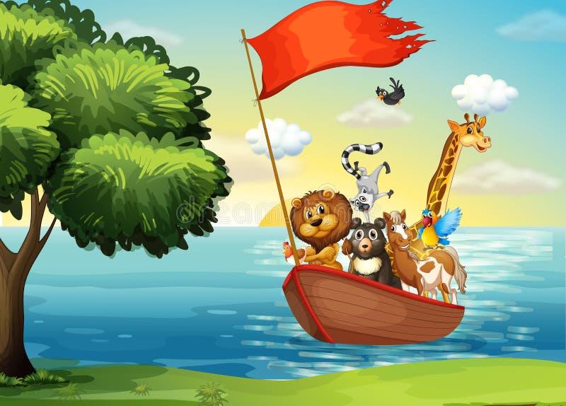 Ζώα στη βάρκα ελεύθερη απεικόνιση δικαιώματος