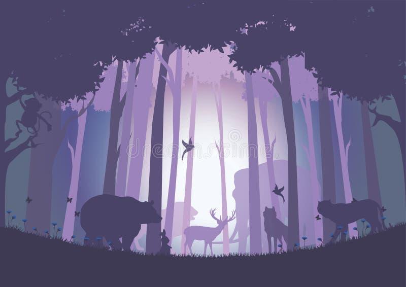 Ζώα στις άγρια περιοχές με τη χαρά , Διανυσματικές απεικονίσεις απεικόνιση αποθεμάτων