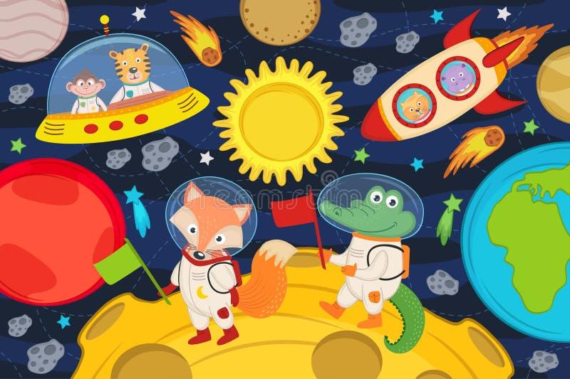 Ζώα στο φεγγάρι στον πύραυλο και το διαστημικό σκάφος ελεύθερη απεικόνιση δικαιώματος