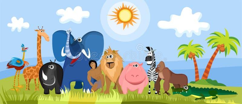 ζώα της Αφρικής χαριτωμένα διανυσματική απεικόνιση