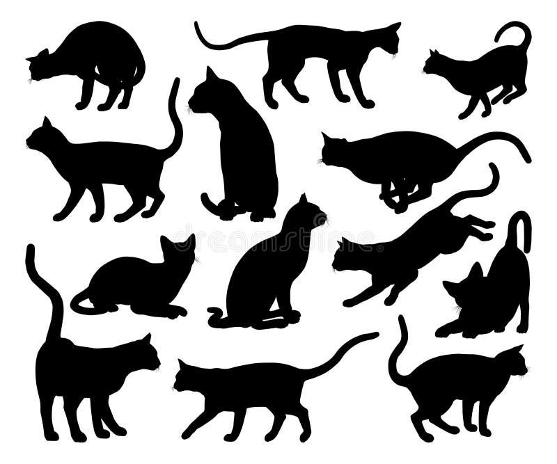 Ζώα της Pet σκιαγραφιών γατών καθορισμένα διανυσματική απεικόνιση