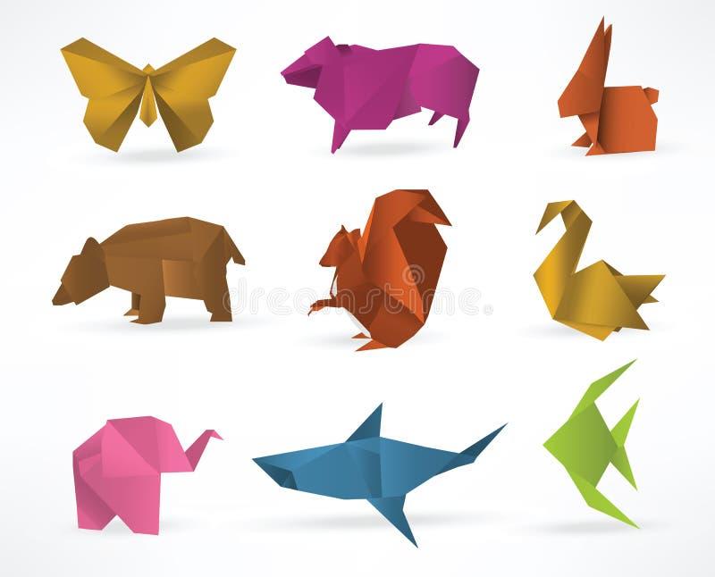 Ζώα Origami ελεύθερη απεικόνιση δικαιώματος