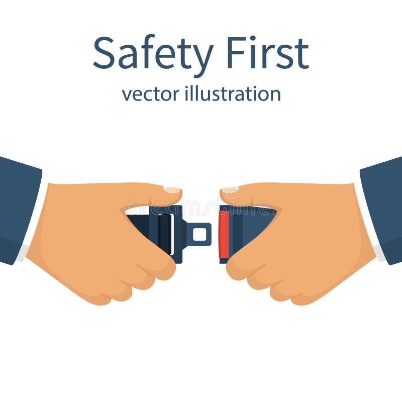 Ζώνη ασφαλείας πρώτη ασφάλεια έννοιας ελεύθερη απεικόνιση δικαιώματος