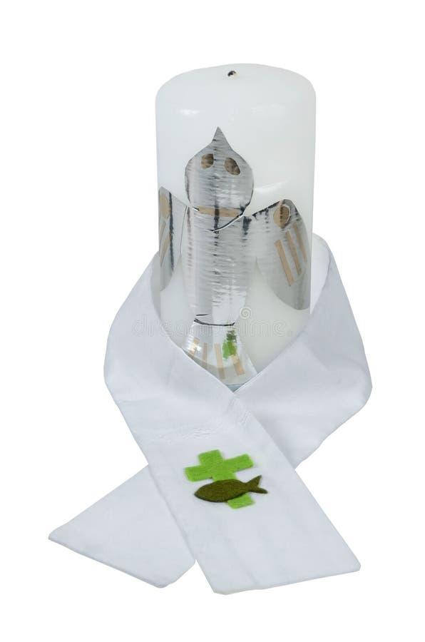 Ζώνη βαπτίσματος και εθιμοτυπικό κερί στοκ φωτογραφία με δικαίωμα ελεύθερης χρήσης