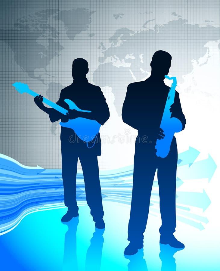 Ζώνη ζωντανής μουσικής με το υπόβαθρο παγκόσμιων χαρτών ελεύθερη απεικόνιση δικαιώματος