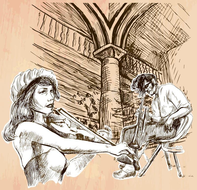 Ζώνη μουσικής - ένα συρμένο χέρι διάνυσμα διανυσματική απεικόνιση