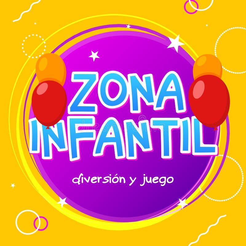 Ζώνη παιδιών - υπόβαθρο σχεδίου εμβλημάτων παιχνιδιών zona infantil Διανυσματικό σημάδι ζώνης παιδιών παιδικών χαρών Περιοχή δωμα απεικόνιση αποθεμάτων
