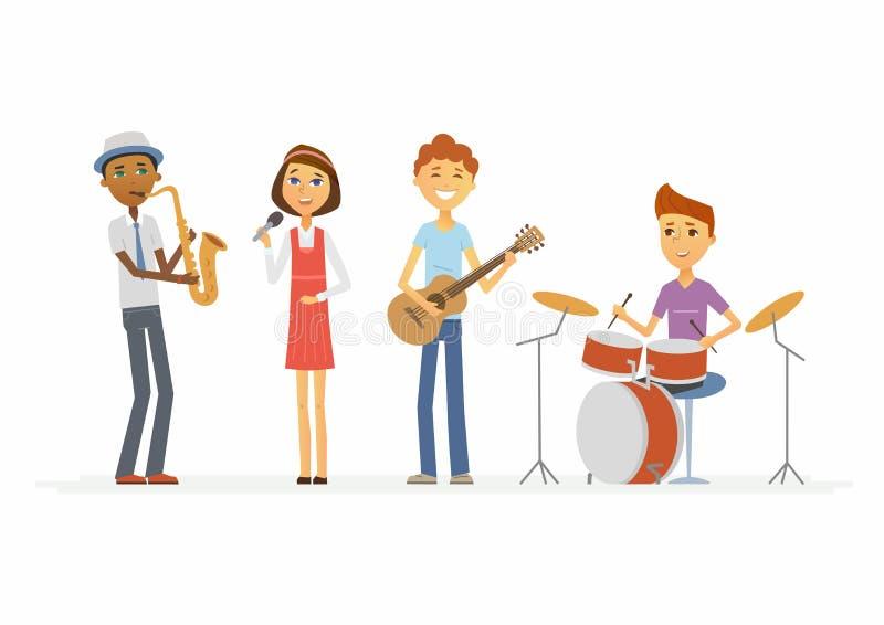 Ζώνη σχολικής μουσικής - απομονωμένη χαρακτήρες απεικόνιση ανθρώπων κινούμενων σχεδίων απεικόνιση αποθεμάτων