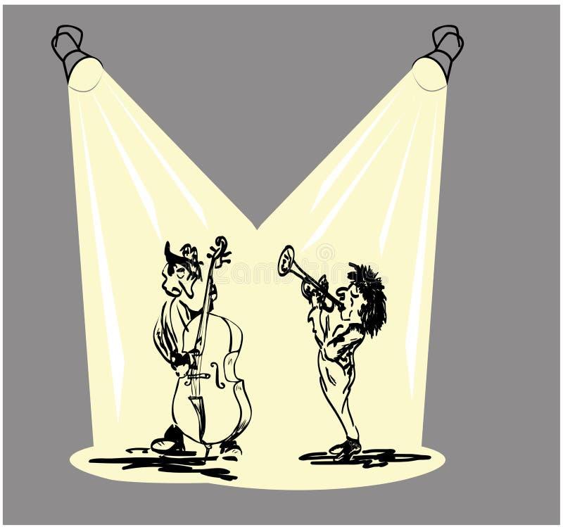 Ζώνη της Jazz με τη σάλπιγγα και τις διπλές πέρκες ελεύθερη απεικόνιση δικαιώματος