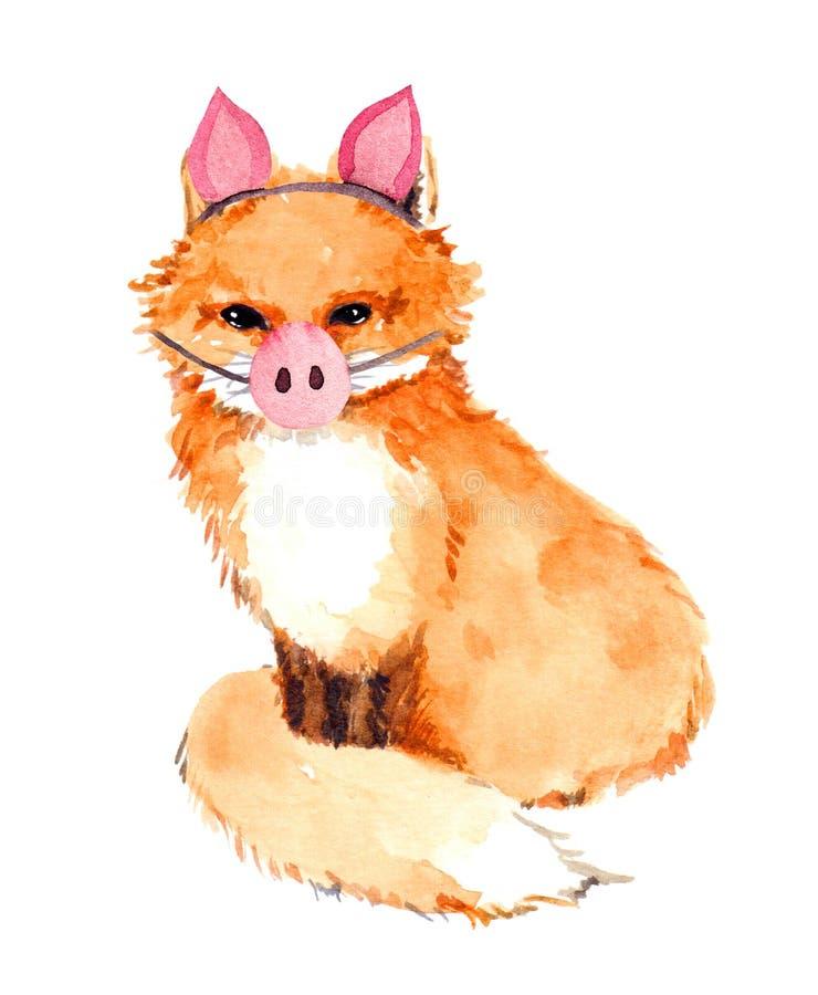 Ζώο αλεπούδων στο piggy κοστούμι με τη μύτη χοίρων Ασυνήθιστη χαριτωμένη ζωγραφική για το νέο σχέδιο έτους watercolor διανυσματική απεικόνιση