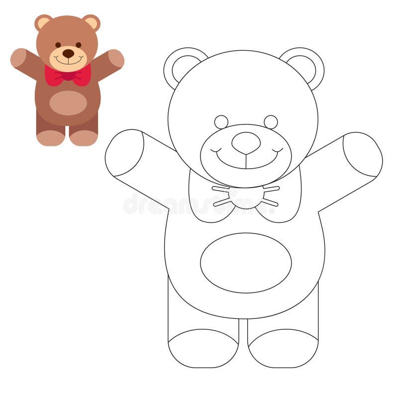 Ζώο βιβλίων χρωματισμού Παιδιά που χρωματίζουν τις σελίδες αντέξτε teddy απεικόνιση αποθεμάτων