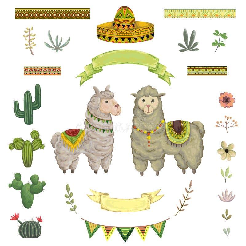 Ζώο, κάκτοι, σομπρέρο, κορδέλλες, λουλούδια και φύλλα λάμα στοιχεία στο ύφος watercolor απεικόνιση αποθεμάτων