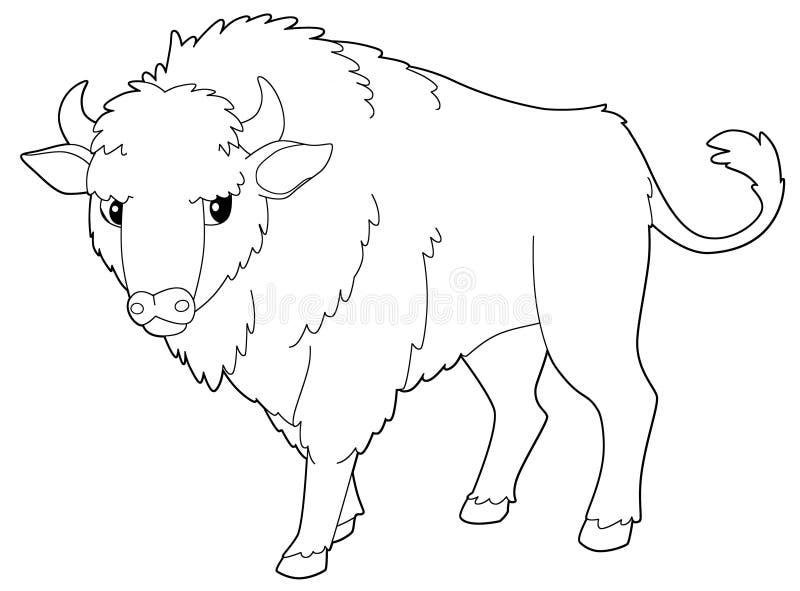 Ζώο κινούμενων σχεδίων - βίσωνας - που απομονώνεται - χρωματίζοντας σελίδα ελεύθερη απεικόνιση δικαιώματος