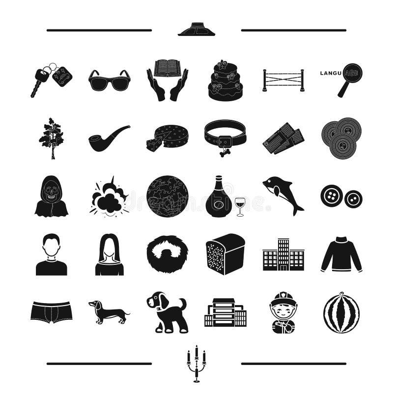 Ζώο, τρόφιμα, εμφάνιση και άλλο εικονίδιο Ιστού στο μαύρο ύφος εκπαίδευση, ιματισμός, εικονίδια αρχιτεκτονικής στην καθορισμένη σ απεικόνιση αποθεμάτων