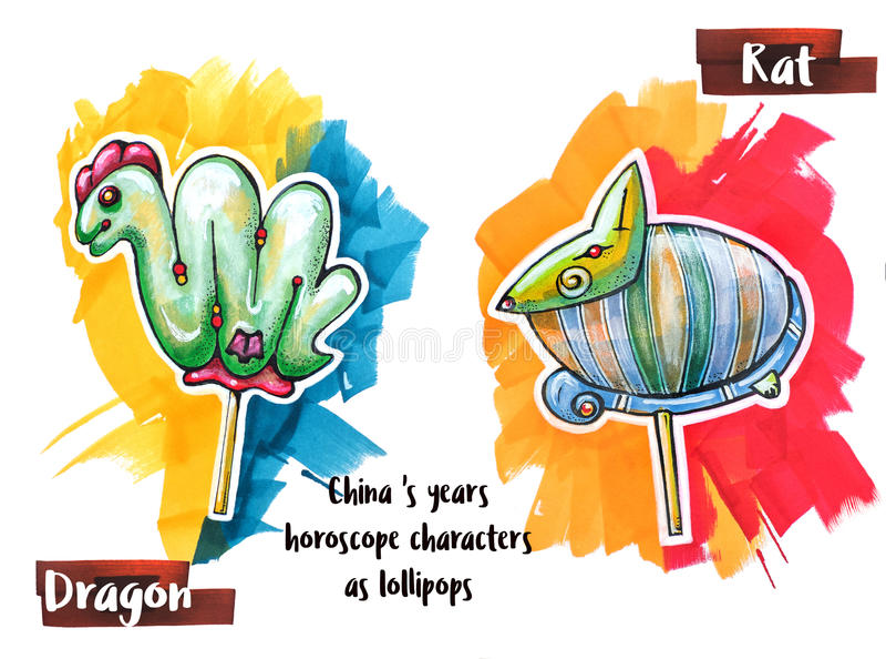 Ζώο ωροσκοπίων σχεδίων χεριών ως lollipops διανυσματική απεικόνιση