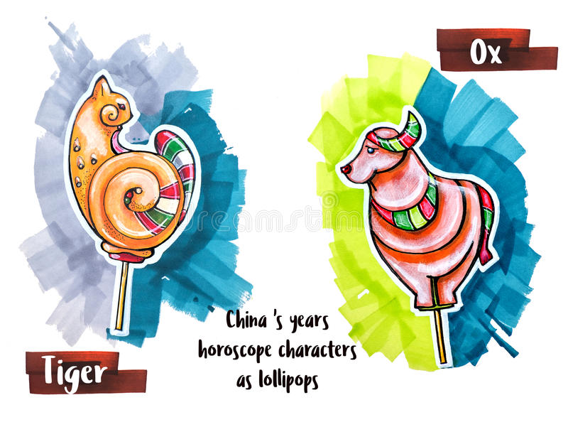 Ζώο ωροσκοπίων σχεδίων χεριών ως lollipops απεικόνιση αποθεμάτων