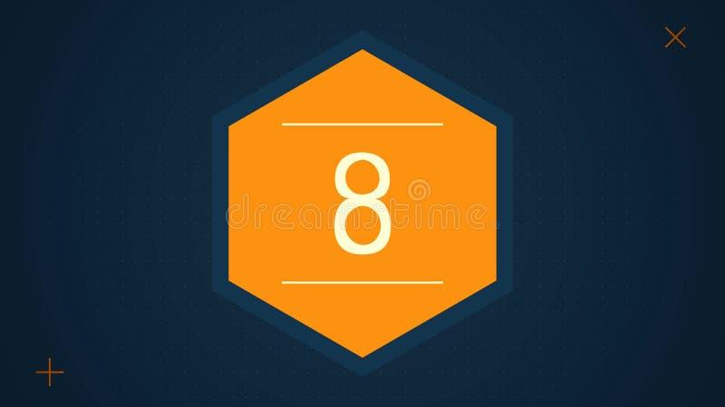 Ηγέτης αντίστροφης μέτρησης γραφικός με καταπληκτικά άσπρα γραφικά hexagons 25 έως 0 Αντίστροφη μέτρηση Motiongraphic 0 έως 25 Απ διανυσματική απεικόνιση