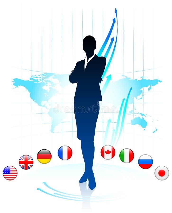 Ηγέτης επιχειρηματιών στον παγκόσμιο χάρτη με τις σημαίες ελεύθερη απεικόνιση δικαιώματος