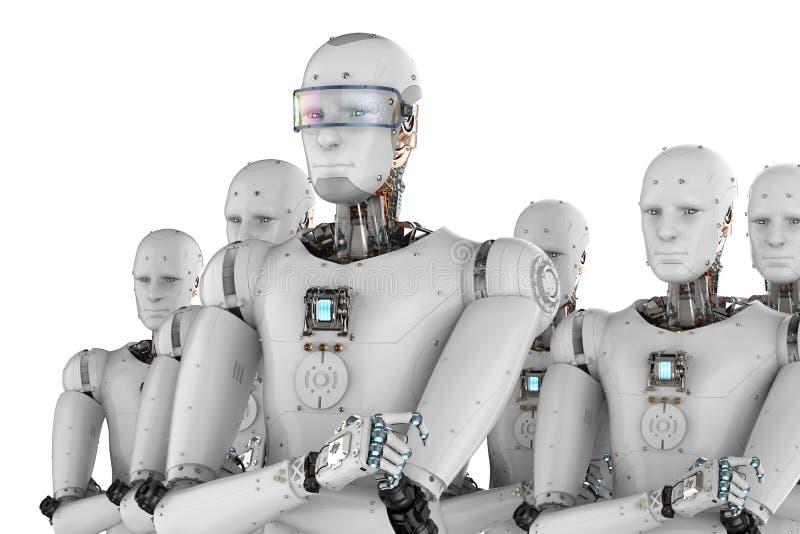 Ηγέτης ρομπότ με την ομάδα στοκ εικόνα