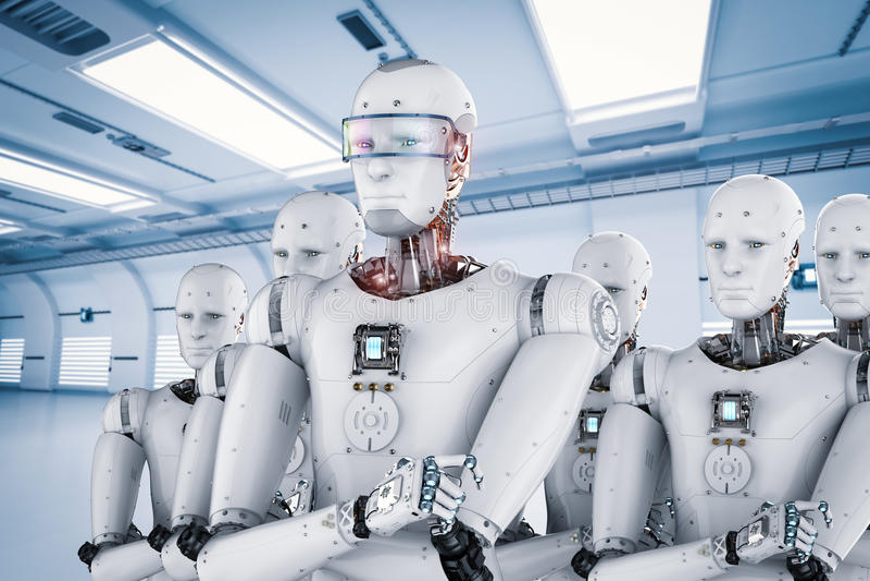 Ηγέτης ρομπότ με την ομάδα διανυσματική απεικόνιση