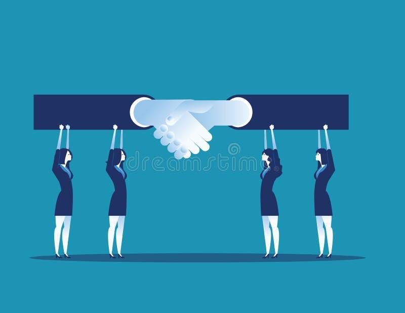 Ηγέτης Συμφωνία και χειραψία επιχειρησιακών ομάδων Επιχειρησιακή διανυσματική απεικόνιση έννοιας απεικόνιση αποθεμάτων