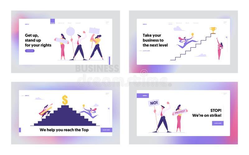 Ηγεσία, επιτυχία, πρόκληση, σετ σελίδων προσγείωσης, επιχειρηματικοί ανεβαίνουν στην κορυφή της σκάλας, επιχειρηματίες απεικόνιση αποθεμάτων