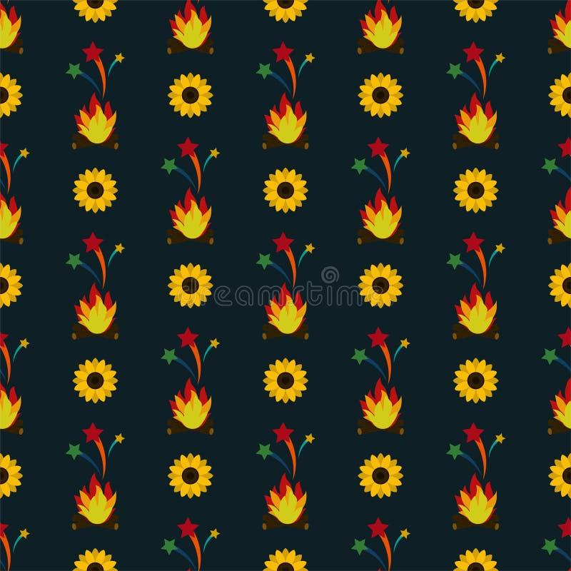 Ηλίανθοι Junina Festa και άνευ ραφής σχέδιο πυρκαγιάς απεικόνιση αποθεμάτων