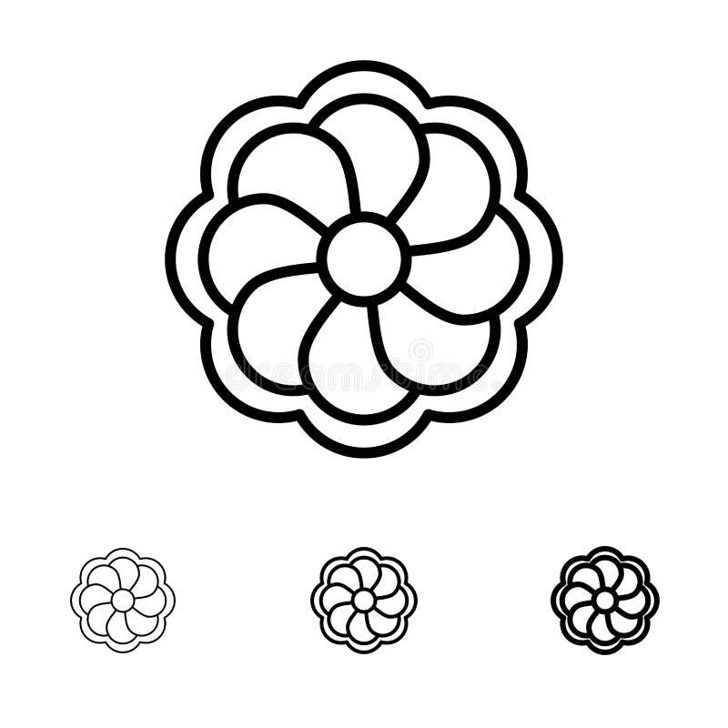 Ηλίανθος, λουλούδι, τολμηρό και λεπτό μαύρο σύνολο εικονιδίων γραμμών Madrigal απεικόνιση αποθεμάτων