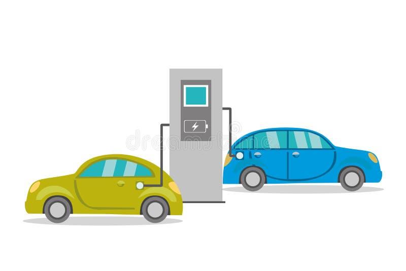 Ηλεκτρικά αυτοκίνητα κινούμενων σχεδίων στην επαναφόρτιση, ελεύθερη απεικόνιση δικαιώματος