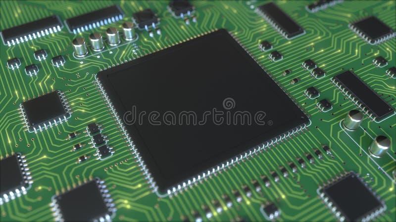 Ηλεκτρικά σήματα στο πράσινο PCB ή τον τυπωμένο πίνακα κυκλωμάτων Η τεχνολογία υπολογιστών αφορούσε την εννοιολογική τρισδιάστατη απεικόνιση αποθεμάτων