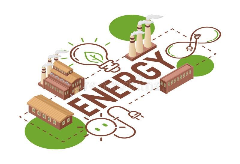 Ηλεκτρικής ενέργειας διανυσματική ενέργεια βολβών γήινης δύναμης ηλεκτρική του βιομηχανικού εργοστασίου σκηνικού απεικόνισης ηλια διανυσματική απεικόνιση