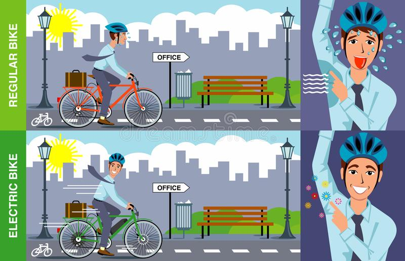 Ηλεκτρική απεικόνιση ποδηλάτων διανυσματική απεικόνιση