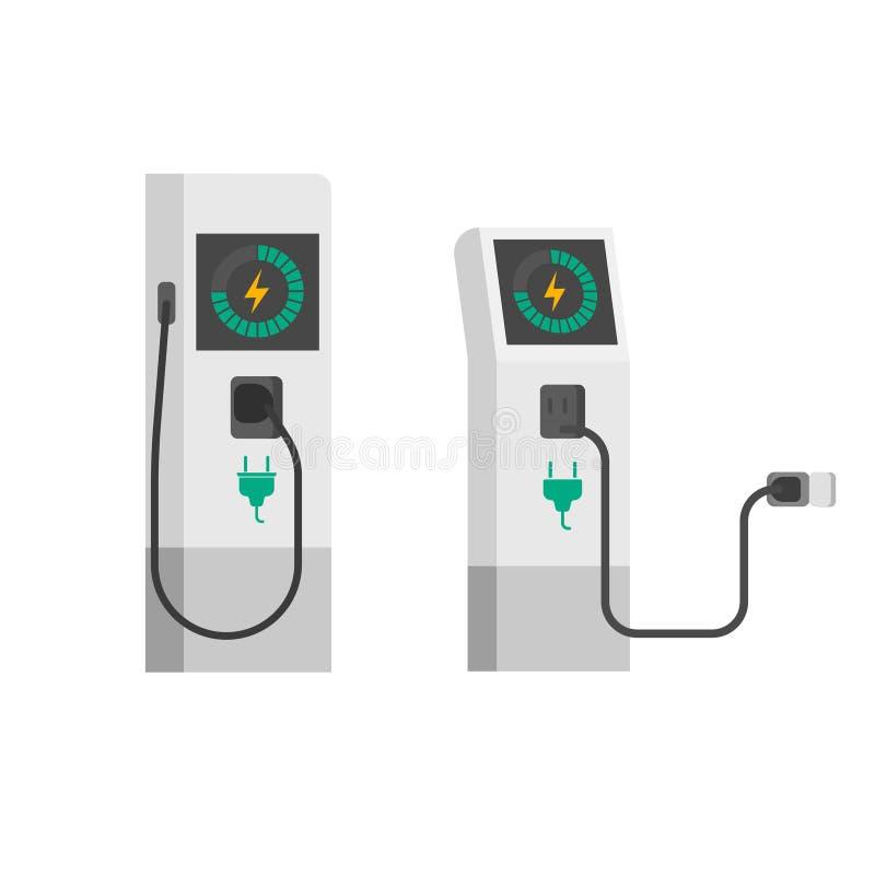 Ηλεκτρική διανυσματική απεικόνιση φορτιστών αυτοκινήτων, επίπεδος σταθμός χρέωσης οχημάτων κινούμενων σχεδίων ηλεκτρικός με το κα απεικόνιση αποθεμάτων