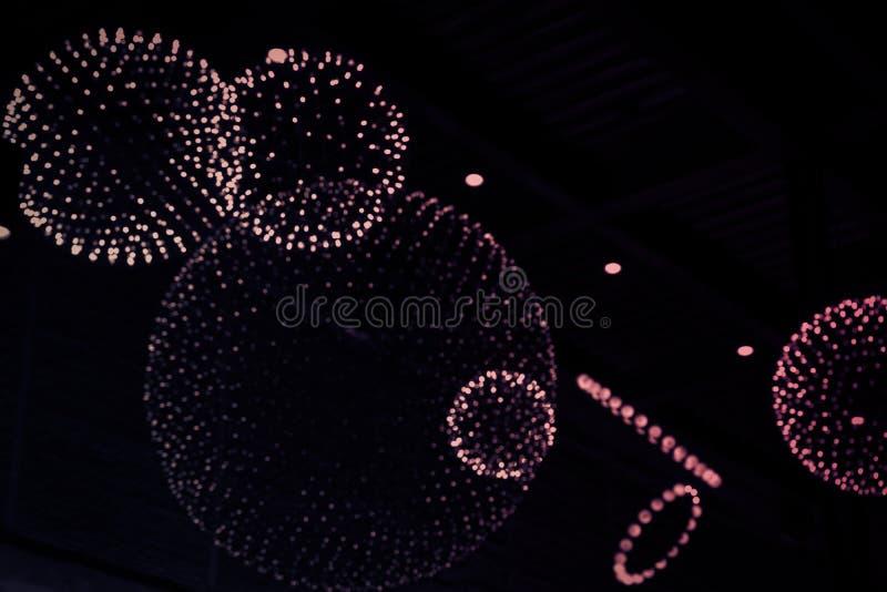 Ηλεκτρική ενέργεια θαμπάδων υποβάθρου σχεδίου σφαιρών κύκλων ιδέας λαμπών φωτός στοκ φωτογραφία με δικαίωμα ελεύθερης χρήσης