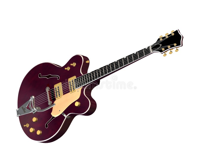 ηλεκτρική κιθάρα 2 hollowbody ελεύθερη απεικόνιση δικαιώματος