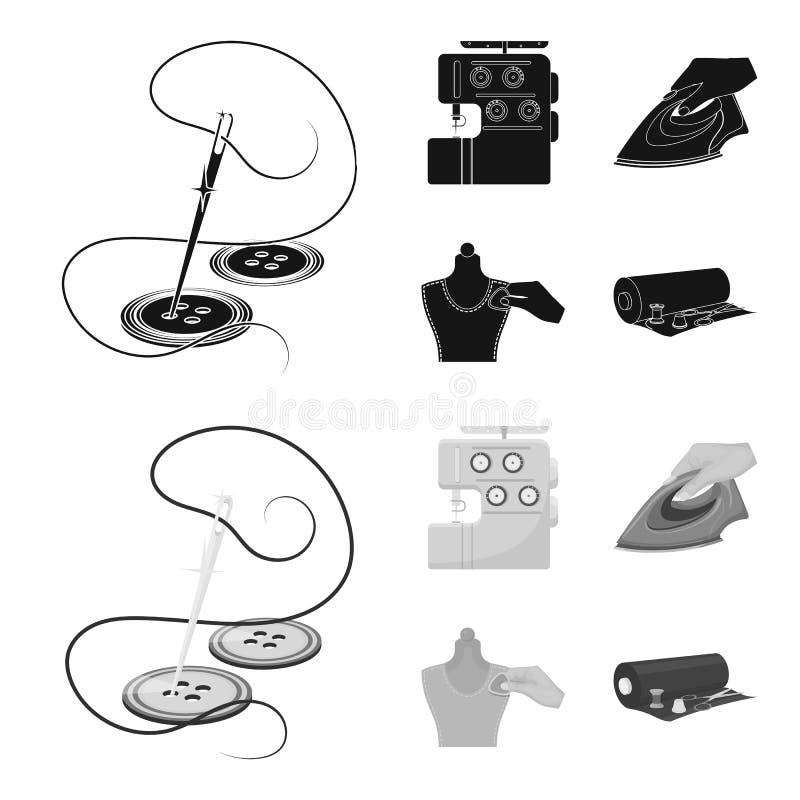 Ηλεκτρική ράβοντας μηχανή, σίδηρος για το σιδέρωμα, που μαρκάρει με τα ενδύματα κιμωλίας, το ρόλο του υφάσματος και άλλο εξοπλισμ διανυσματική απεικόνιση