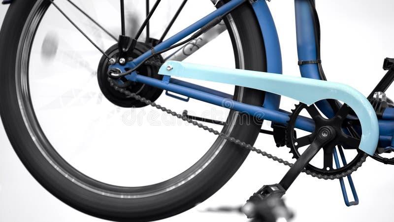 Ηλεκτρική ρόδα ποδηλάτων που περιστρέφεται, έκθεση καινοτομίας, φιλική μεταφορά eco στοκ εικόνα