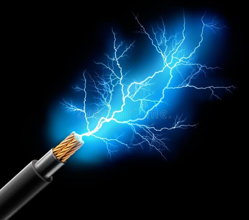Ηλεκτρική τρισδιάστατη απόδοση χάλκινων καλωδίων διανυσματική απεικόνιση