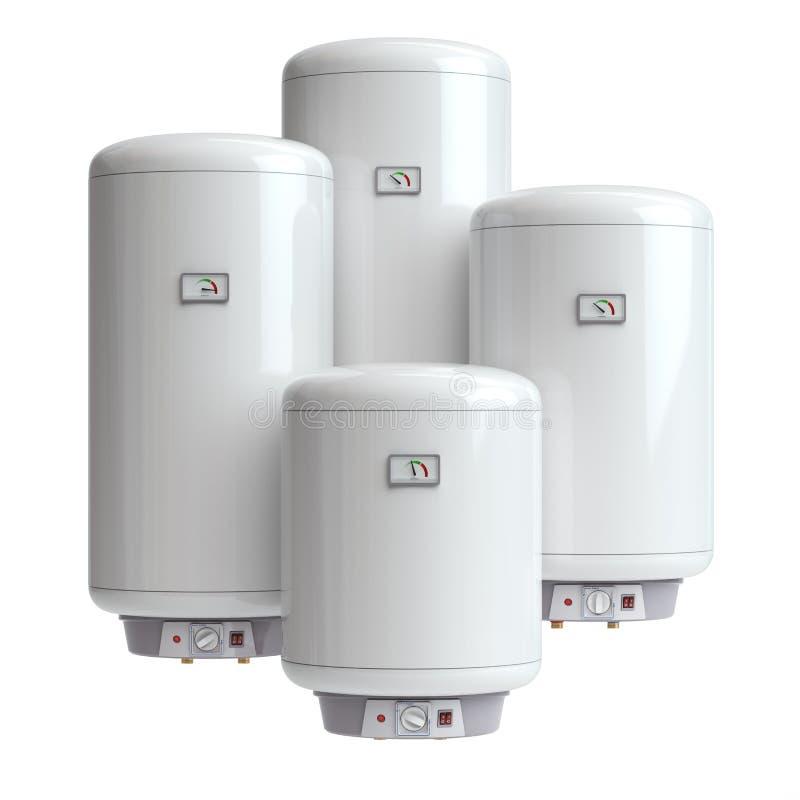 Ηλεκτρικοί λέβητες, θερμοσίφωνας που απομονώνεται στο άσπρο υπόβαθρο απεικόνιση αποθεμάτων