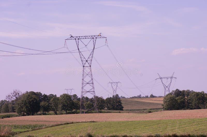 Ηλεκτρικοί πυλώνες ηλεκτρικής ενέργειας πύργων μετάδοσης στο ηλιοβασίλεμα στοκ φωτογραφία με δικαίωμα ελεύθερης χρήσης