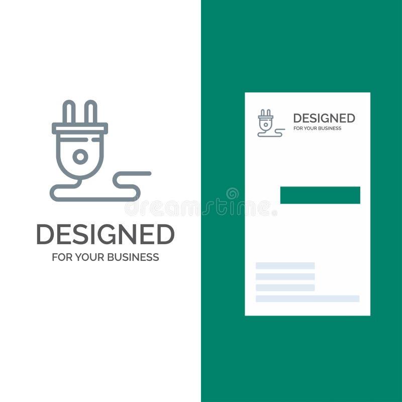 Ηλεκτρικός, ενέργεια, βούλωμα, παροχή ηλεκτρικού ρεύματος, γκρίζο σχέδιο λογότυπων και πρότυπο επαγγελματικών καρτών ελεύθερη απεικόνιση δικαιώματος