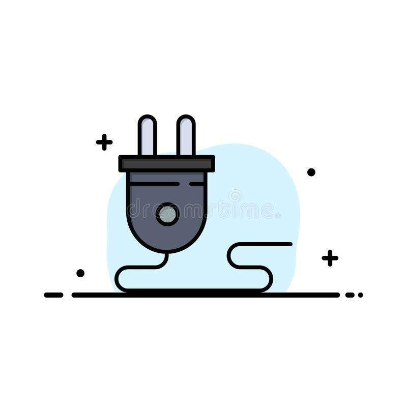 Ηλεκτρικός, ενέργεια, βούλωμα, παροχή ηλεκτρικού ρεύματος, πρότυπο επιχειρησιακών λογότυπων Επίπεδο χρώμα ελεύθερη απεικόνιση δικαιώματος