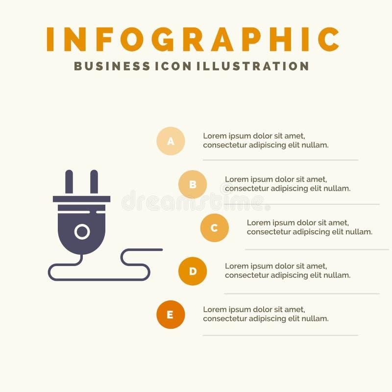Ηλεκτρικός, ενέργεια, βούλωμα, παροχή ηλεκτρικού ρεύματος, στερεό εικονίδιο Infographics 5 υπόβαθρο παρουσίασης βημάτων διανυσματική απεικόνιση