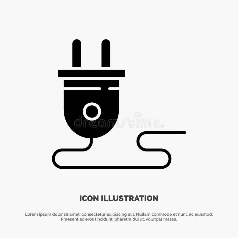 Ηλεκτρικός, ενέργεια, βούλωμα, παροχή ηλεκτρικού ρεύματος, στερεό διάνυσμα εικονιδίων Glyph απεικόνιση αποθεμάτων