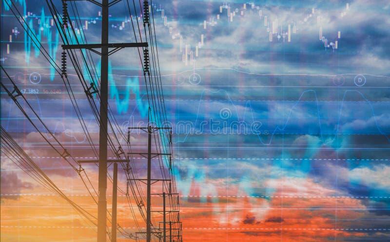 Ηλεκτρικός πόλος, και ζωηρόχρωμο διάγραμμα αποθεμάτων ουρανού ως υπόβαθρο Με την έννοια της αστάθειας των αποθεμάτων και των ενερ απεικόνιση αποθεμάτων