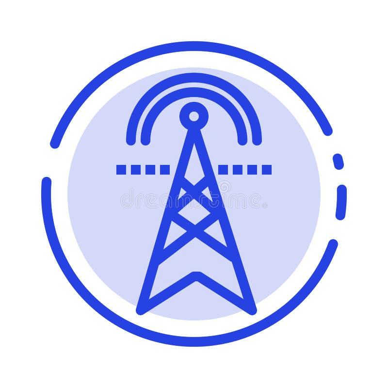 Ηλεκτρικός πύργος, ηλεκτρική ενέργεια, δύναμη, πύργος, εικονίδιο γραμμών διαστιγμένων γραμμών υπολογισμού μπλε διανυσματική απεικόνιση