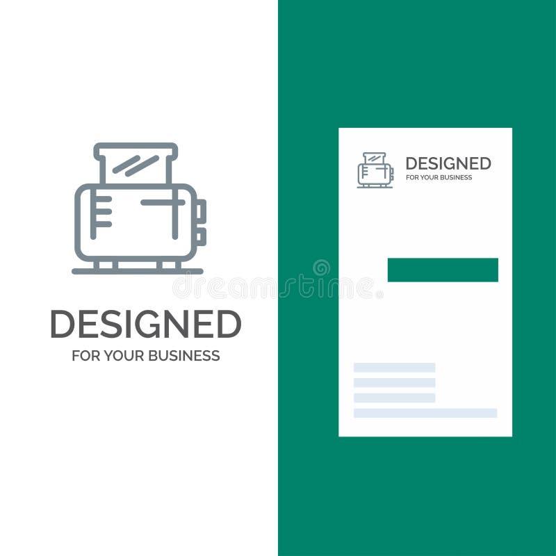 Ηλεκτρικός, σπίτι, μηχανή, γκρίζο σχέδιο λογότυπων φρυγανιέρων και πρότυπο επαγγελματικών καρτών διανυσματική απεικόνιση