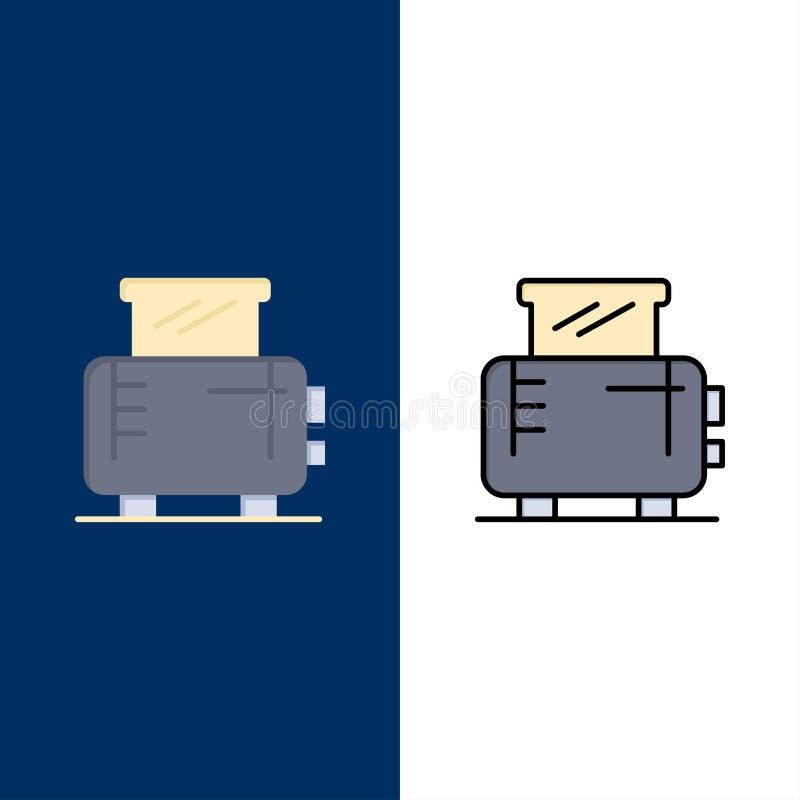 Ηλεκτρικός, σπίτι, μηχανή, εικονίδια φρυγανιέρων Επίπεδος και γραμμή γέμισε το καθορισμένο διανυσματικό μπλε υπόβαθρο εικονιδίων απεικόνιση αποθεμάτων